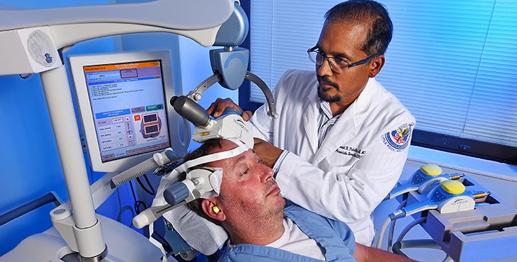 Prasad Padala demonstrates transcranial magnetic stimulation