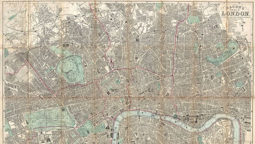 1890 bacon travelers pocket map of london