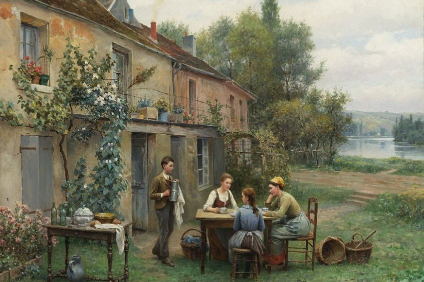 Daniel Ridgway Knight Coffee in the garden
