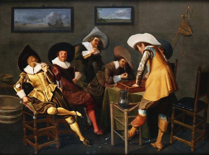 Gentlemen Smoking and Playing Backgammon in an Interior by Dirck Hals 1627