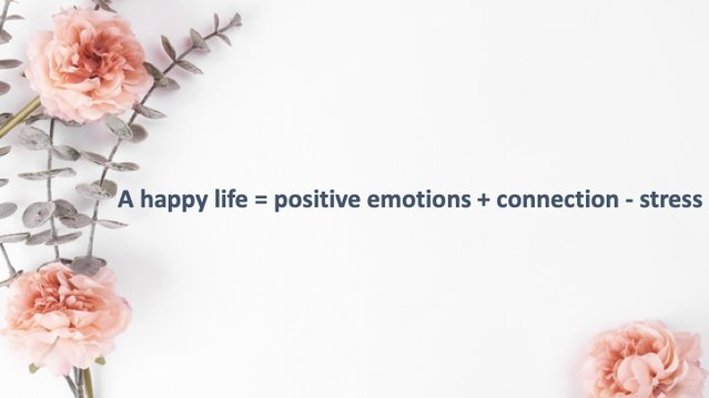 Happy Life = Positive Emotions + Connection - Stress