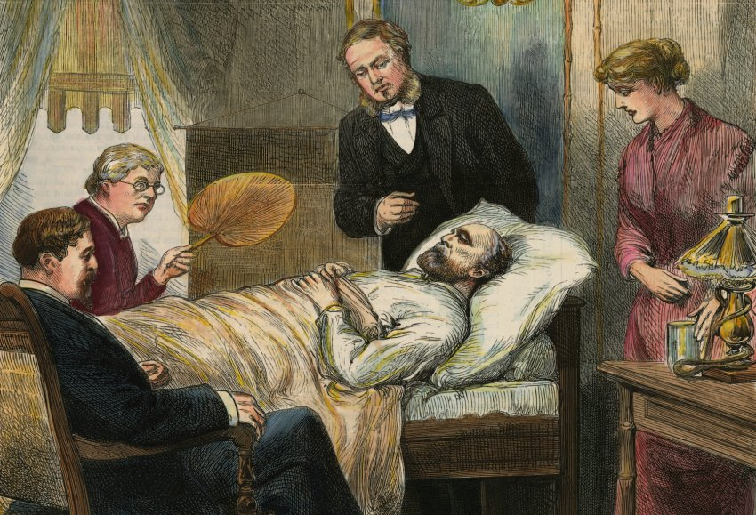 James A Garfield on his deathbed