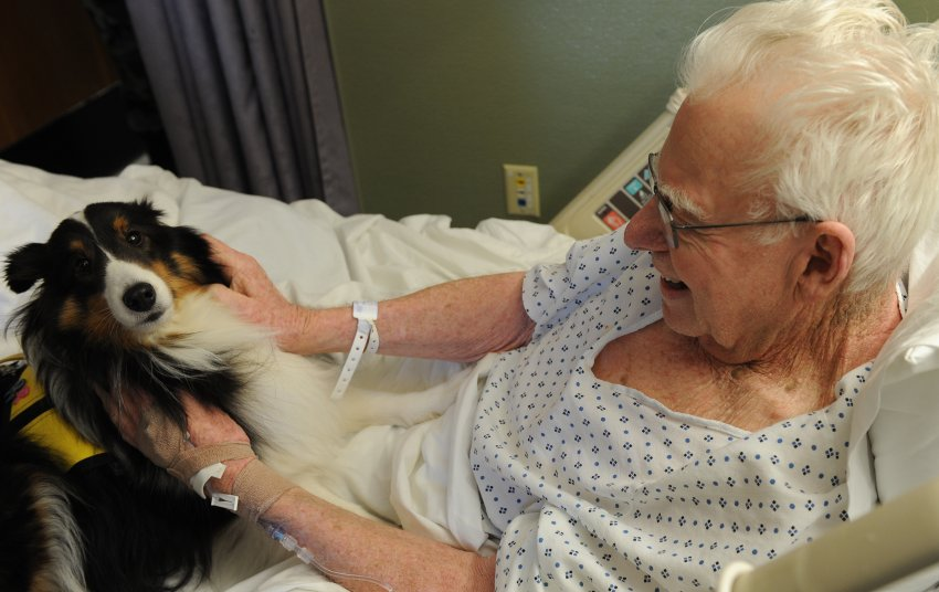 Nursing home resident with pet
