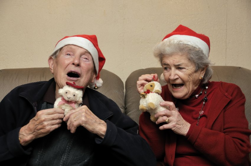 elderly couple christmas