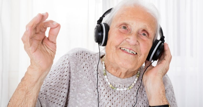 old lady listening to music