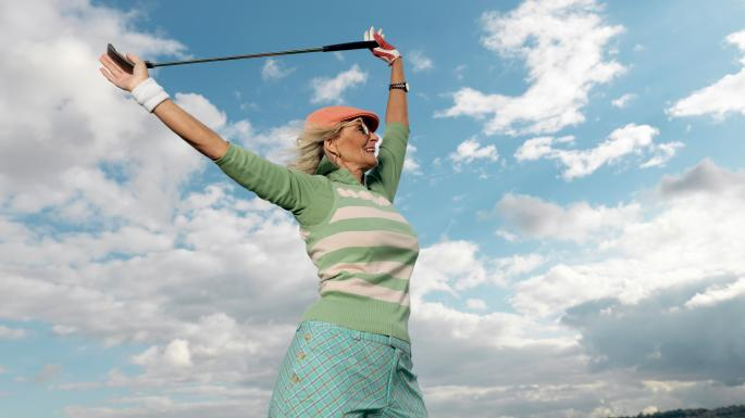 older woman golf player retirement