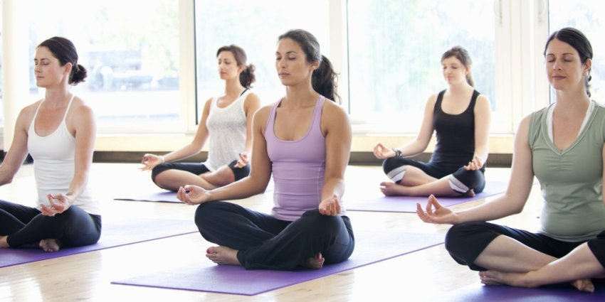 ladies in yoga and meditation practice